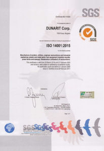 Certificate ISO 14001 - Dunarit Corp.