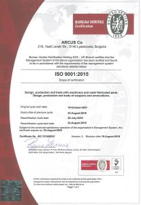 Certificate ISO 9001:2015 - ARCUS Co