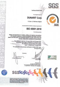 certificate ISO 45001:2018 - Dunarit Corp.